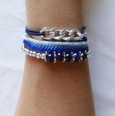 Bracelets perles bleues, gourmette, brésilien lot de 3 : Bracelet par kiline