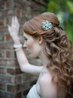 Wedding hairstyle- long and curly with statement accessories