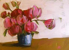 """""""roses in blue jar"""" - Original Fine Art for Sale - © Angela Moulton"""
