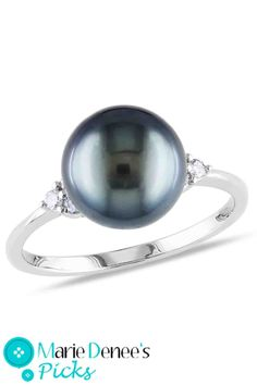 Tahitian Pearl 8-8.5mm Tahitian Pearl & 0.125Ct Ring In 14k White Gold..why dont i own this yet...
