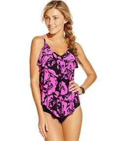 Magicsuit Printed Tiered Ruffled Tankini Top & High-Waist Swim Brief Bottom - Swimwear - Women - Macy's
