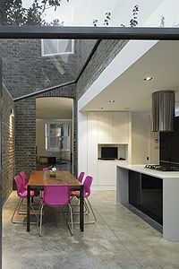 Fantastic glass roof detail to really brighten up a living space.  www.methodstudio.london