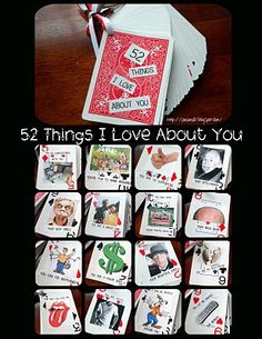 52 Things I love about you... made out of a deck of cards