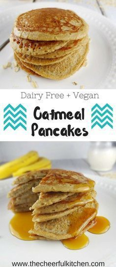 recipes kids Oatmeal Pancakes that are Vegan and Dairy Free! These delicious blender pancakes. Oatmeal Pancakes that are Vegan and Dairy Free! These delicious blender pancakes could not be easier and are super healthy! Vegan Foods, Vegan Dishes, Vegan Meals, Healthy Foods, Baby Food Recipes, Whole Food Recipes, Dinner Recipes, Fruit Recipes, Shrimp Recipes