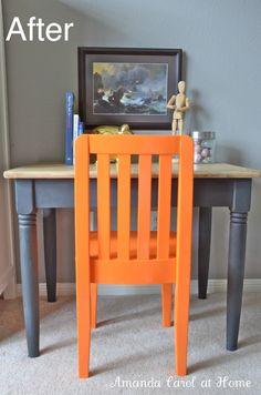 Chair gone from white to orange DIY SprayPaint  Amanda Carol at Home: Valspar Spray Paint.