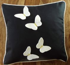 Felt 'Butterfly Sky' applique Cushion with by TheCraftyFoxBoutique, £20.00