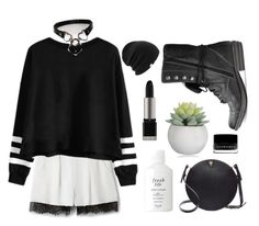 """Casual goth."" by shadowofday ❤ liked on Polyvore featuring Fresh, Nicholas, Valextra, American Rag Cie, Coal, Illamasqua and MAKE UP FOR EVER"