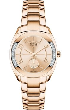 "ESQ Origin - Women's ESQ Origin watch, 28 mm wide tonneau-shaped rose gold ion-plated stainless steel case with 14 smoked white diamonds (0.067 t.c.w.) and ""e"" logo crown, round rose gold-toned dial with matching hands, etched Arabic numerals and small seconds subdial, rose gold ion-plated stainless steel link bracelet with logo-engraved deployment clasp, Swiss quartz movement, mineral crystal, water resistant to 30 meters."