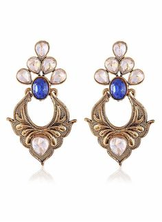 Artificial Jewellery of Earrings In Beige, Blue & Gold