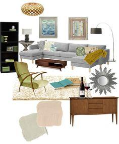 """modern-vintage living room"" by jmariediet on Polyvore"