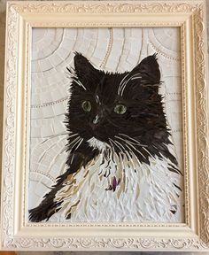 Custom mosaic pet portrait. This mosaic is a sample of my work and is not for sale. It was made of stained glass, ceramics tiles, broken china and shells . For indoor display only. For mosaic of this complicity I charge $350 for size 12x12. Very small hand cut shards of stained glass