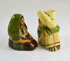 Mexico Salt Pepper Shakers Tlaquepaque Redware Pottery Man
