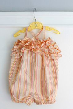 6-12 months: Pink and Orange Striped Ruffled Baby Bubble Romper www.etsy.com/shop/Petitpoesy