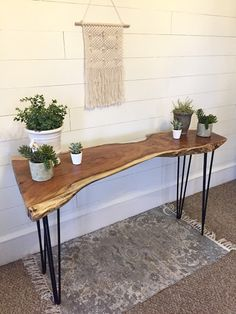 Rustique Restoration, Live Edge Walnut Console Table, Hairpin Legs, Steel Legs, … - My Company Entry Hall Table, Entry Tables, Hall Tables, Sofa Tables, Table Desk, Table Lamp, Live Edge Tisch, Live Edge Table, Live Edge Console Table