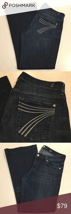 7 For All Mankind Jeans 29X31 Dojo In Hawthorne! ❗️PRICE ABSOLUTELY FIRM❗️ 7 for all mankind jeans Size 29 31 inch professionally hemmed inseam The dojo in Hawthorne Famous powder blue stitched 7 back pockets Vibrant dark blue stretch denim with soft fading Good preowned condition, no flaws excepa tiny bit of wear on heals Retailed for $198.00 My dojos sell fast so don't wait on these!  All of my items come from a smoke free, pet free home and are authenticity guaranteed! Please ask any…
