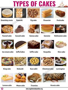 Types of Cakes: List of Famous Cakes from Around the World - English Study Online Types Of Cake Flavors, Types Of Cakes List, Cake Types, Bread Types, Types Of Desserts, Krantz Cake, Hacks Cocina, Baking Recipes, Gastronomia