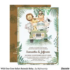 Baby Shower Parties, Baby Shower Themes, Baby Boy Shower, Shower Ideas, Jungle Theme Baby Shower, Safari Invitations, Baby Shower Invitations For Boys, Invitation Ideas, Gender Neutral Baby Shower
