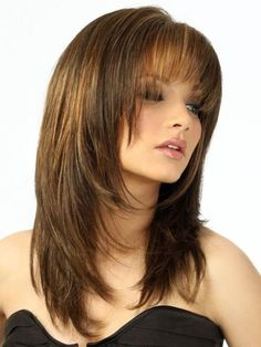 Vintage Hairstyles With Bangs Medium Brown Straight Human Hair Wigs - If you're looking for Medium Brown Straight Human Hair Wigs, HoWigs is the perfect choice. Order Human Hair Wigs at professional online shop. Layered Haircuts With Bangs, Hairstyles For Round Faces, Wig Hairstyles, Straight Hairstyles, Layered Hairstyles, Trendy Hairstyles, Hairstyle Ideas, Pixie Haircuts, Black Hairstyles