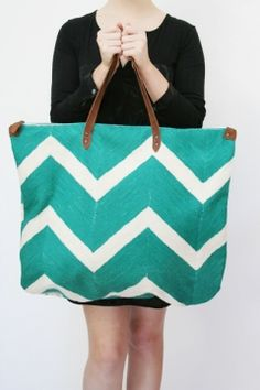 Virginia Johnson luggage has inspired a great DIY for a canvas bag and chevron paint job!