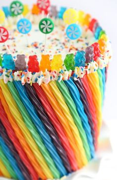 Rainbow Candy - Candy - Ideas of Candy - Rainbow Candy Cake Pretty Cakes, Cute Cakes, Beautiful Cakes, Yummy Cakes, Amazing Cakes, Torta Candy, Candy Cakes, Cupcake Cakes, Kid Cakes