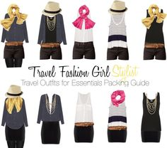 Mix and Match Travel Clothing - 8 pieces of clothing make 26 travel outfits - minimalist travel
