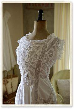 antique Irish crochet lace dress