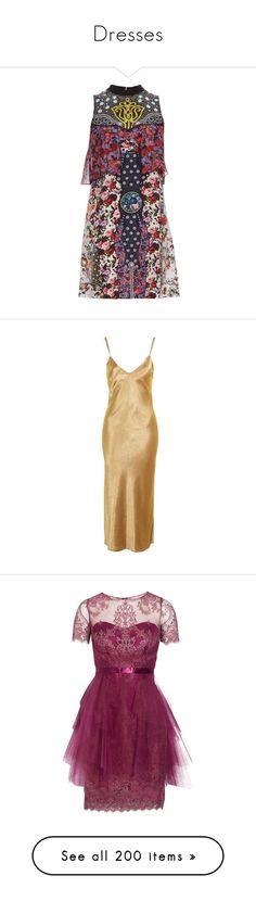"""Dresses"" by bijouxinedit ❤ liked on Polyvore featuring dresses, clothing - dress, black multi, floral pattern dress, flower print dresses, shift dress, silk floral dress, silk dress, nude and satin dress"