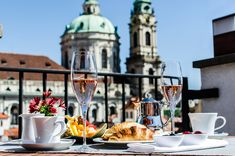 Breakfast on a terrace with a breathtaking view