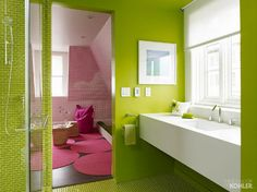 bracing, refreshing colour:  lime green bath with glass tile floor and shower - Kohler via Atticmag