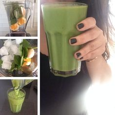 Simple Easy Green SmoothieServes 1  2 small oranges (or 1 large), peeled 1 frozen banana 1 huge handful of spinach 1/2 cup of ice  Blend blend blend until creamy and smooth.  Don't like bananas? Try 1 cup of frozen peaches, pineapple, or mango!