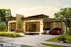 This Contemporary Home Design in One Storey consist of two bedrooms, two bathroom, 2 living rooms and one kitchen with an amazing two car garages.