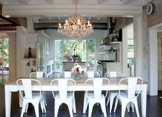 White metal dining chair earthy kitchen white dining table dining tables metal chairs wood beams the White Metal Chairs, Metal Dining Chairs, Iron Chairs, Earthy Kitchen, Kitchen White, Kitchen Dining, Open Kitchen, Cozy Kitchen, Kitchen Chairs