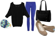 colbat blue skinny jeans outfit for fall