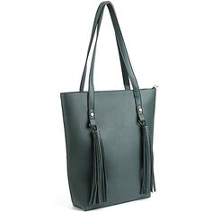 WISHESGEM Women Tote Handbags PU Leather Classic Ladies Shopper Bag Tassel Shoulder Purse Bags Dark green -- Check out this great product.Note:It is affiliate link to Amazon. #iliketurtles
