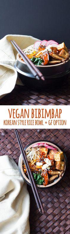 Sticky rice, sesame sautéed vegetables, crispy tofu and a generous serve of gochujang sauce make a delicious vegan version of this typical Korean meal. #vegan #glutenfree #glutenfreeoption #vegetarian #dairyfree #eggfree #nutfree #korean #koreanfood #gochujang #bibimbap #rice #tofu #shiitake #chilli #spicy #healthy #wholefoods #plantbased