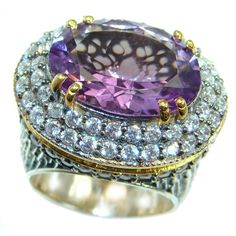 Magic genuine Amethyst gold over .925 Sterling Silver handmade Cocktail Ring s. 7