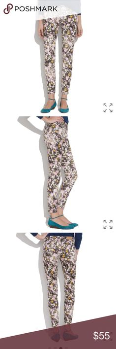 """Madewell Skinny Floral Jeans Sungarden * Machine wash. * Super slim skinny jeans with some stretch. * Retails $89.50 * Note: these are a sample sale item and have writing in them-not noticeable at all when wearing is only inside. Label marked thru by madewell to prevent returns. * 27"""" waist.  * 8"""" rise. * 32.5"""" inseam. Can be rolled/cuffed at the ankle. Excellent condition no signs of wear. Madewell Jeans Skinny"""