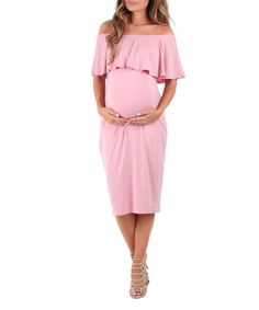 Dusty Pink Off-Shoulder Maternity Dress