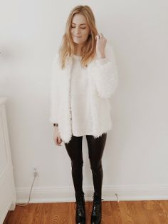 Black pants and boots, white knit jumper with a white fluffy cardigan /// Christie's closet