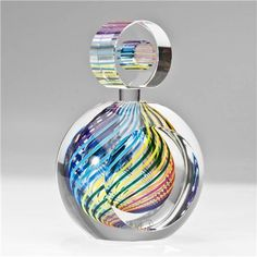 Paul D. Harrie-Art Glass Perfume Bottle - Striped - Zephyr-PH237C-ZEPHYR