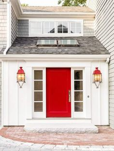 Front Entryway with Red Door at Waites Landing Waterfront, Falmouth Cottage Eclectic Coastal Front Facade Entryway Architectural Detail by Banks Design Associates Ltd Door Paint Colors, Front Door Colors, Best Front Doors, Interior Design Portfolios, Cedar Homes, Solid Doors, Front Door Design, Diy Décoration, Entry Doors