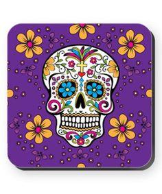 Purple Sugar Skull Cork Coaster by CafePress #zulily #zulilyfinds