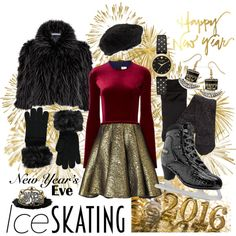 New Year's Eve skating by kc-spangler on Polyvore featuring Emilio De La Morena, Gina Bacconi, Kate Spade, Natures Jewelry, Eric Javits, Forever 21, iceskating, skaterdress, NewYearsEve and nye