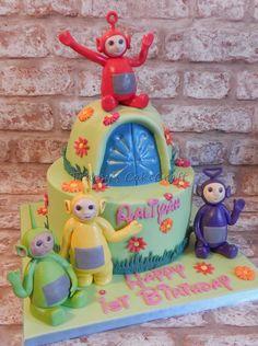 Tellytubby cake. Handmade edible figures