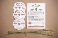 This letterpress wedding invitation set is designed around the couples love of craft beer, complete with their own beer mats.
