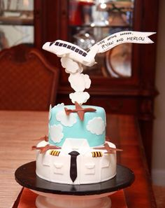 Groom's cake for a pilot Airplane Birthday Cakes, Adult Birthday Cakes, Airplane Cakes, Airplane Party, Happy Birthday, Cake Icing, Fondant Cakes, Planes Cake, Cloud Cake