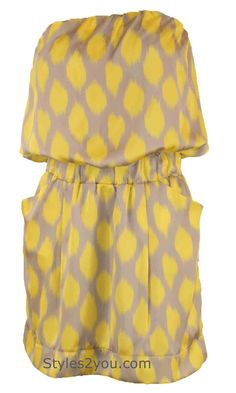 Starlight Strapless Dress In Yellow And Silver