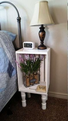 120 wooden boxes Decorative ideas with a rustic flair- 120 Holzkisten Deko-Ideen mit rustikalem Flair Wooden boxes decoration nightstand - Repurposed Furniture, Pallet Furniture, Furniture Projects, Furniture Makeover, Home Projects, Furniture Design, House Furniture, Crate Nightstand, Nightstand Ideas