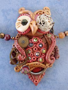 Steampunk Eule handmodelliert handgemacht Fokusperle an Kette mit vintage Uhrteilen