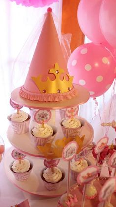Princess birthday party cupcakes! See more party ideas at CatchMyParty.com!